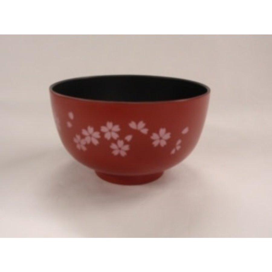 Kunststof kom met kersenbloesenpatroon, zwart binnen, rood buiten, 11 cm-1
