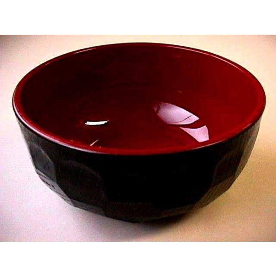 Kunststof kom, rood en zwart, nerfpatroon, hoekig, 14,5 cm-1