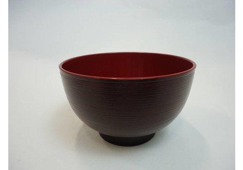 Kunststof kom, rood, lichte ribbelstructuur, 11 cm