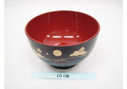Kunstof kom, zwart en rood, maan en konijntjespatroon, 11 cm