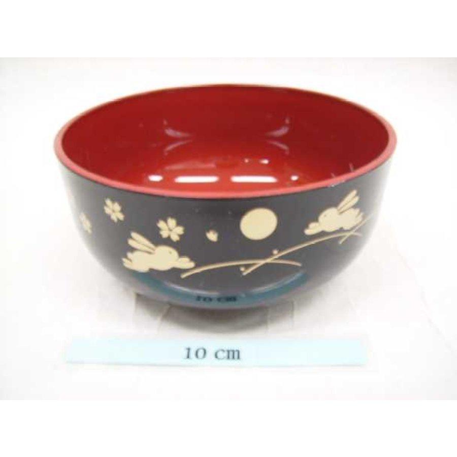 Kunstof kom, zwart en rood, maan en konijntjespatroon, 13 cm-1