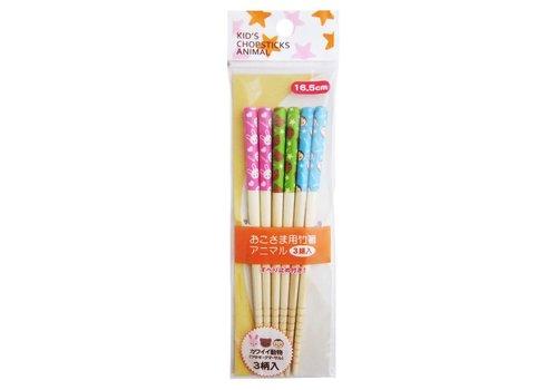 Set van 3 paar 16,5 cm lange bamboe eetstokjes voor kinderen, met dierenprint