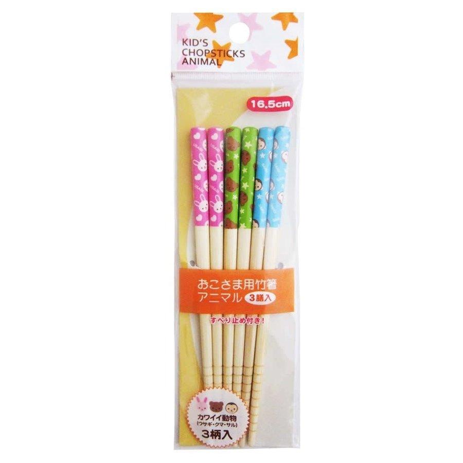 Set van 3 paar 16,5 cm lange bamboe eetstokjes voor kinderen, met dierenprint-1