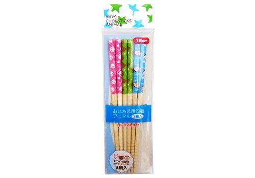 Kid's chopsticks 3p set 18cm animal