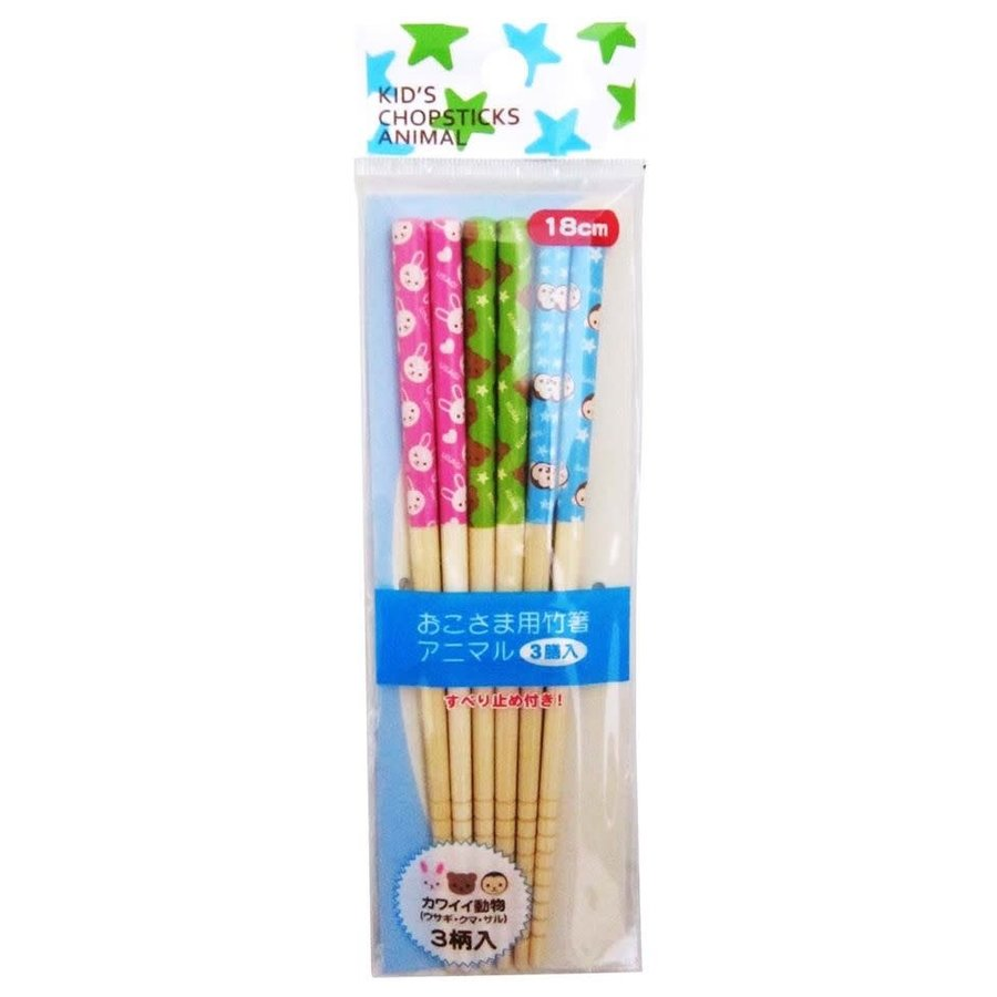 Set van 3 paar 18 cm lange bamboe eetstokjes voor kinderen, met dierenprint-1