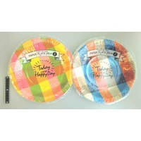 Check pattern paper plate 26cm 3p