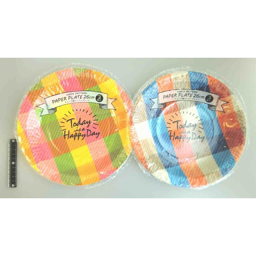 Check pattern paper plate 26cm 3p-1