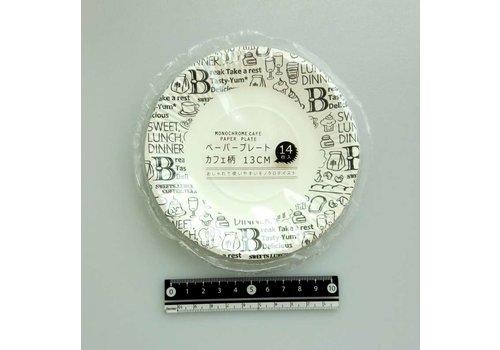 Cafe motif paper plate 13cm 14p