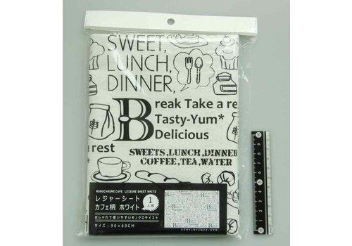 Cafe motif picnic sheet white 60x90cm