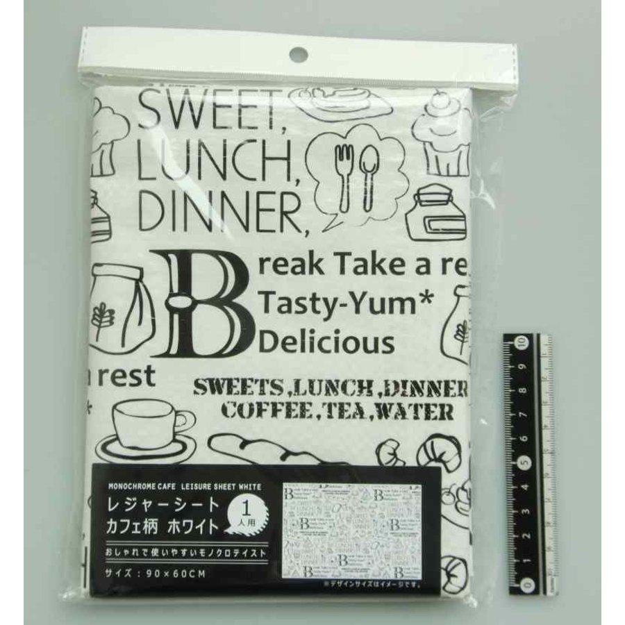 Cafe motif picnic sheet white 60x90cm-1