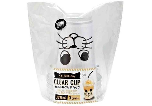 Clear cup with cat's ear 375ml 3p
