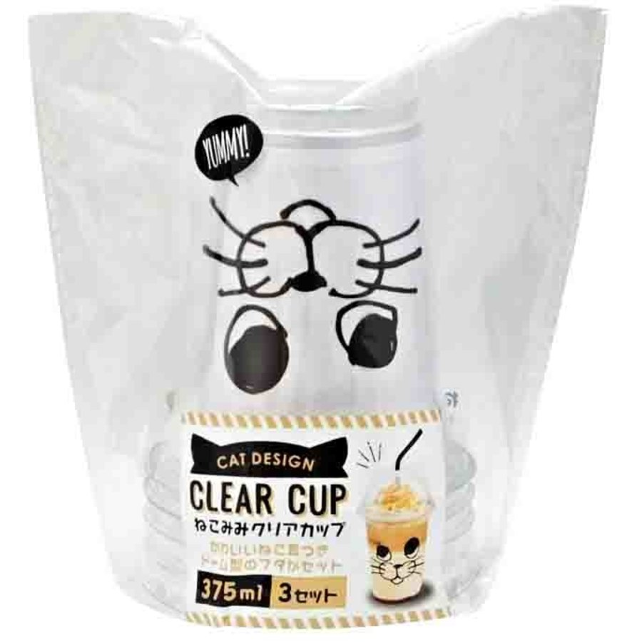 Clear cup with cat's ear 375ml 3p-1