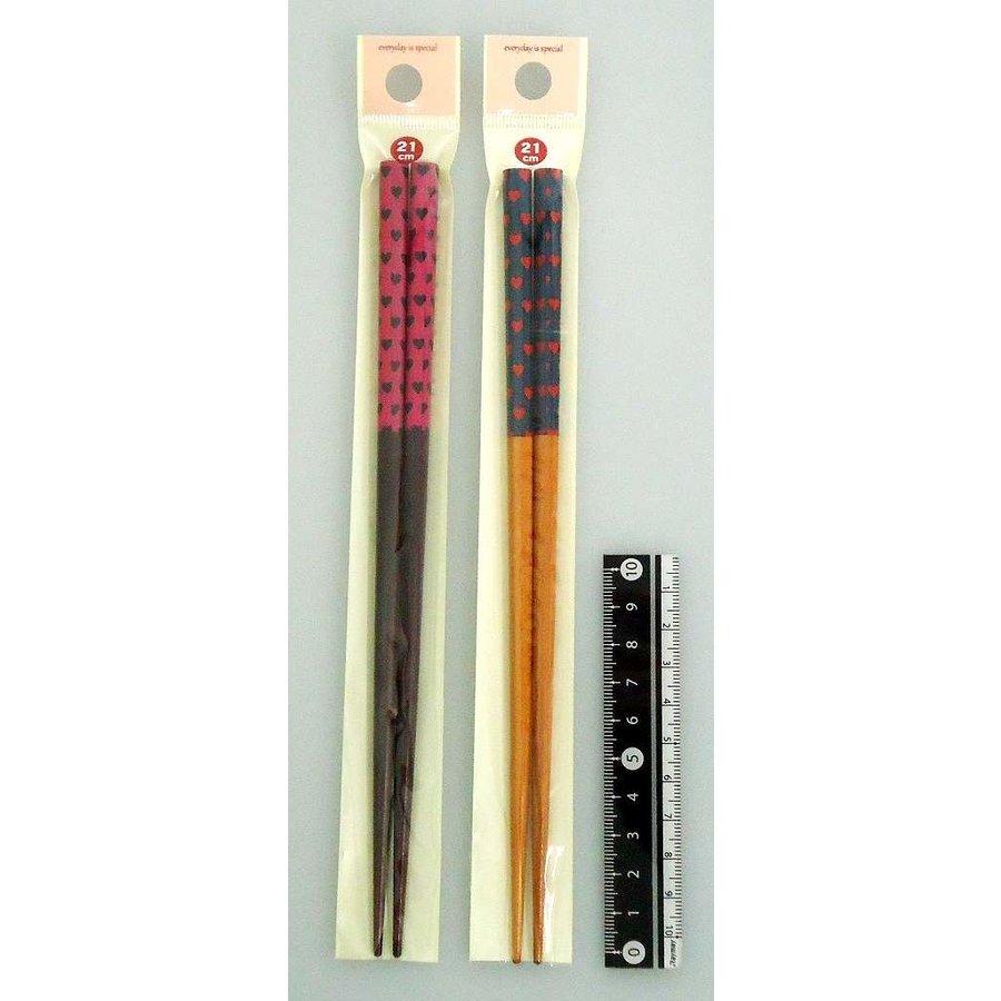 Bamboo chopstick love heart pattern 21cm-1