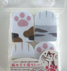 Pika Pika Japan Cat hand print melamine sponge 4p