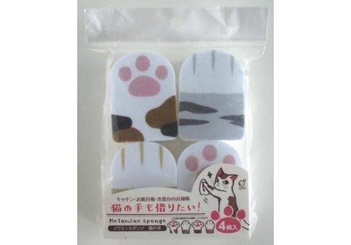 Cat hand print melamine sponge 4p
