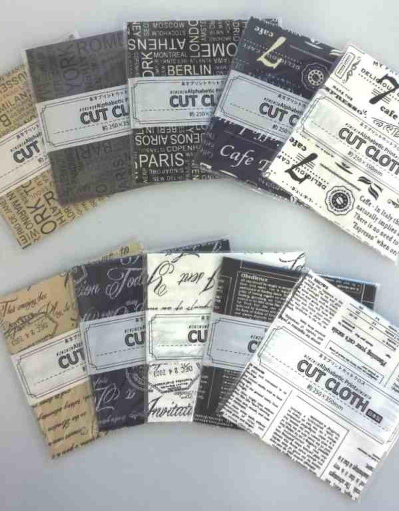 Pika Pika Japan Alphabets printed cut cloth