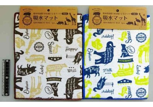 Water absorberende mat met dierenpatroon,  1 st