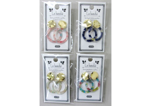 Marble ring pierced earrings