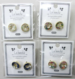 Pika Pika Japan Marble circle pierced earrings with stone