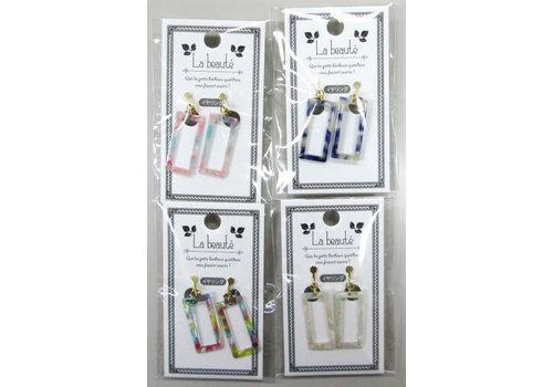 Marble frame earrings
