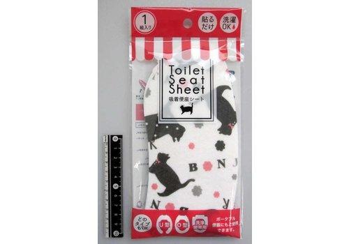 Animal sticky toilet seat sheet black cat