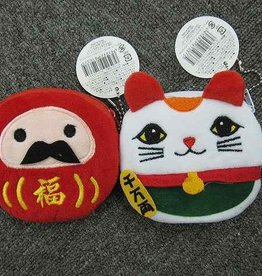 Pika Pika Japan Embroidery pouch (cat & bodhidharma)