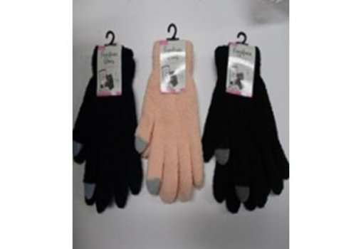 Ladies fluffy gloves plain smartphone available