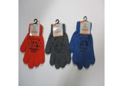 Kids knit gloves with non-slip print