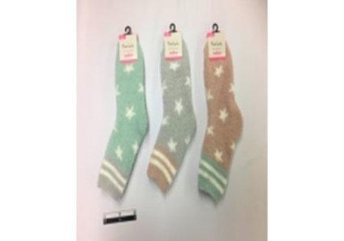 Ladies fluffy socks border star