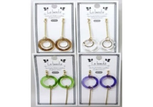 Ring beads pierced earrings with stick