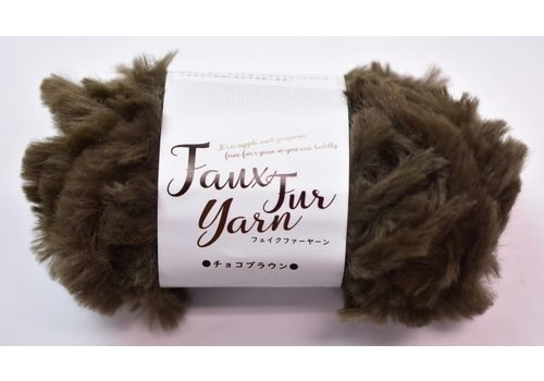 Fake fur yarn chocolate brown