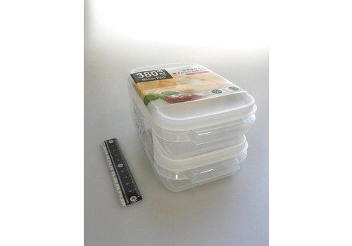 Plastic food container, 380ml, white, 2p