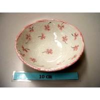 Schaaltje roze klaverpatroon, 11 cm