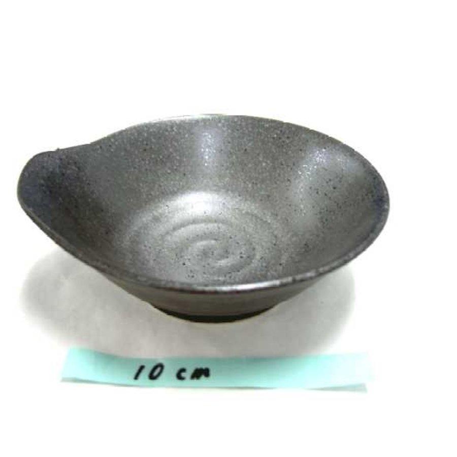 Kommetje met uitstulping en ribbelstructuur, donkerbruin, 12 cm-1