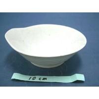 Schaaltje met uitstulping, wit met spikkelpatroon, 12,5 cm