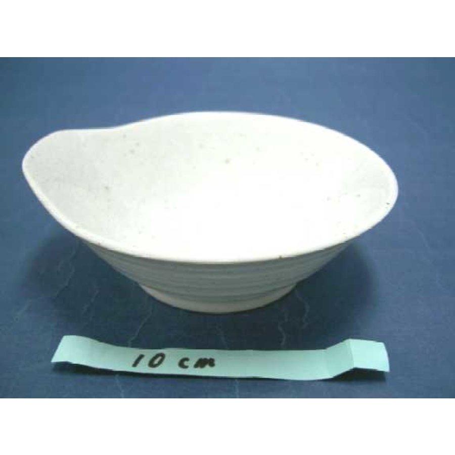 Schaaltje met uitstulping, wit met spikkelpatroon, 12,5 cm-1