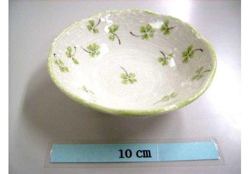 Schaaltje groen klaverpatroon, 11 cm