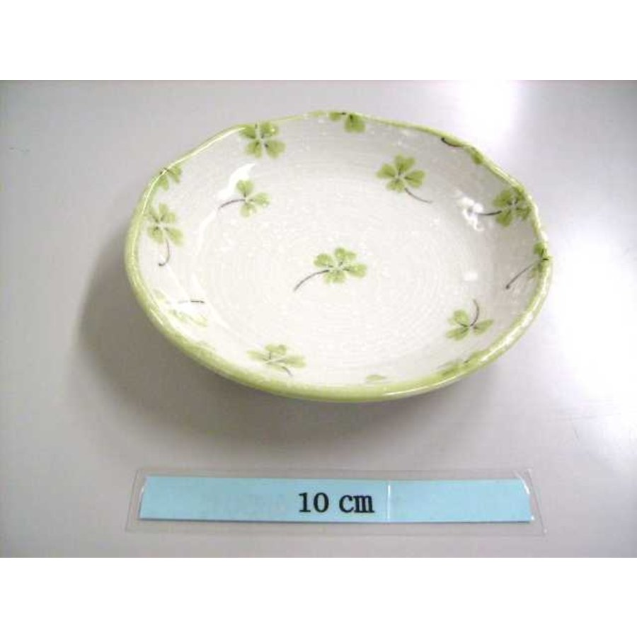 Schaaltje groen klaverpatroon, 13 cm-1