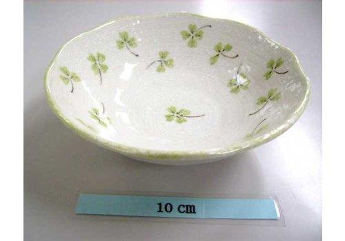 Schaaltje groen klaverpatroon, 14,5 cm