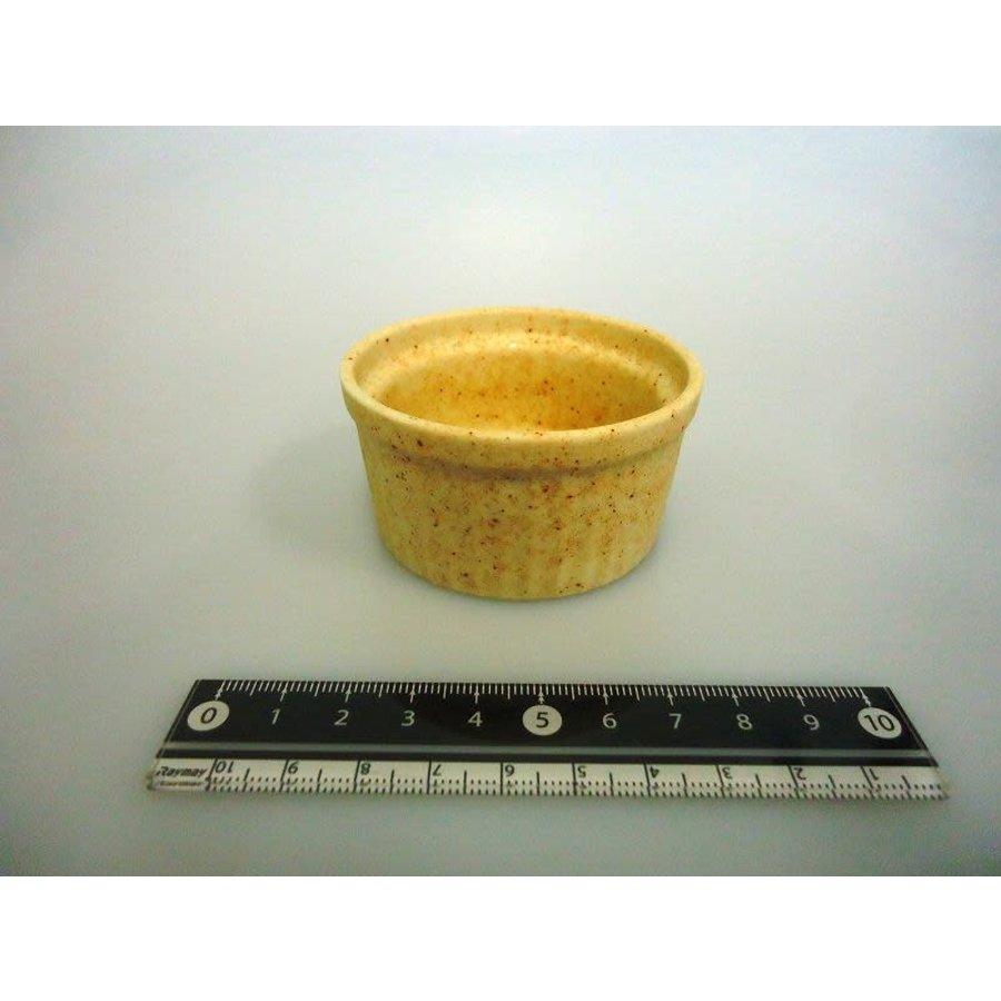 Mini soefflé schaaltje, beige met spikkelpatroon-1