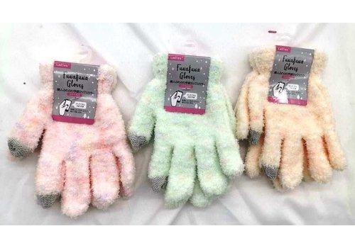Women's fluffy gloves mix smartphone: PB