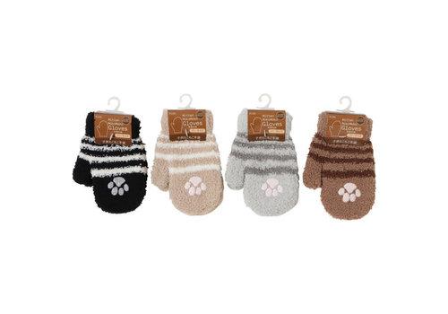 Kid's fluffy mittens gloves cat