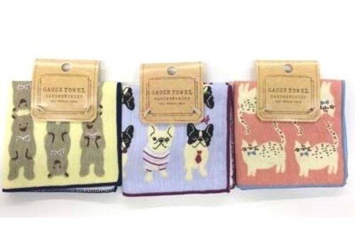 Gauze pile towel handkerchief animal embroidery