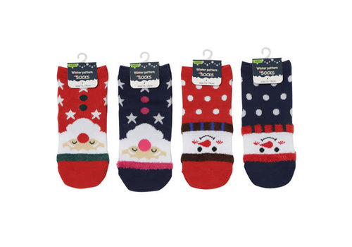 Kids short socks Christmas pattern 15-19