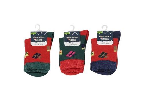 Socks for kids, present pattern, 15-19cm