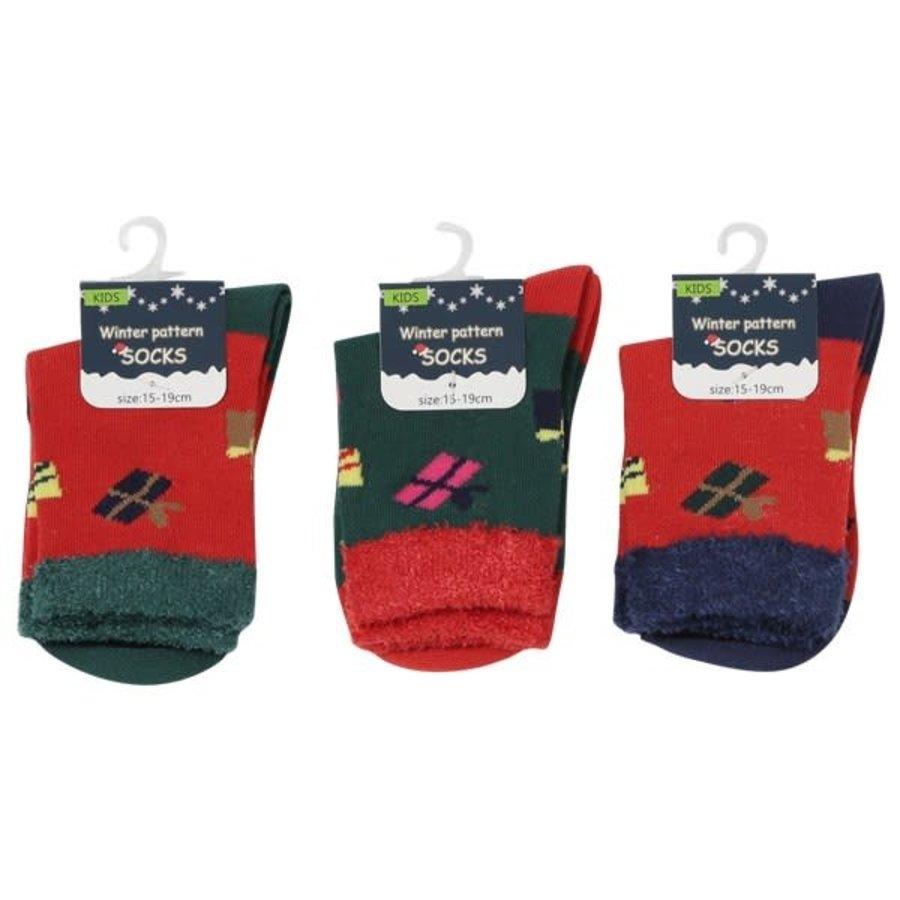 Kids crew socks present pattern 15-19-1