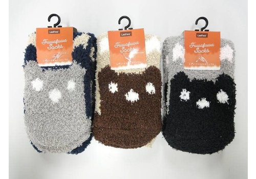 Women's fluffy socks bear