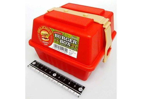 Plastic burger box, red