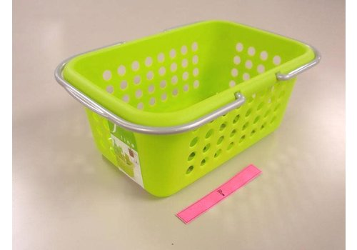 Plastic basket with handle, green