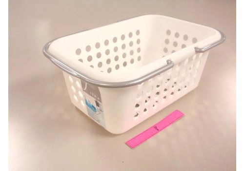 Plastic basket with handle, white